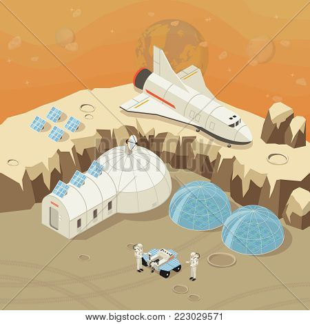 Isometric planet exploration and colonization concept with astronauts shuttle rover cosmic station on space landscape vector illustration