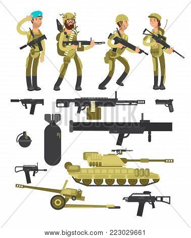 Military soldiers with ammunition, guns and weapons isolated vector collection. Weapon and soldier, army military fighter and tank illustration