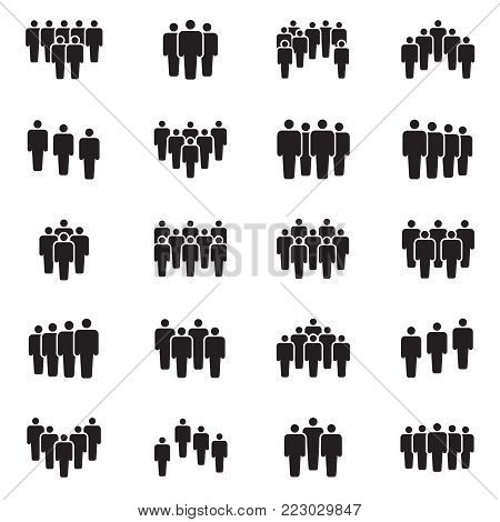 Human persons crowd vector black icons. Office people figures signs. Social teamwork community, crowd partnership illustration