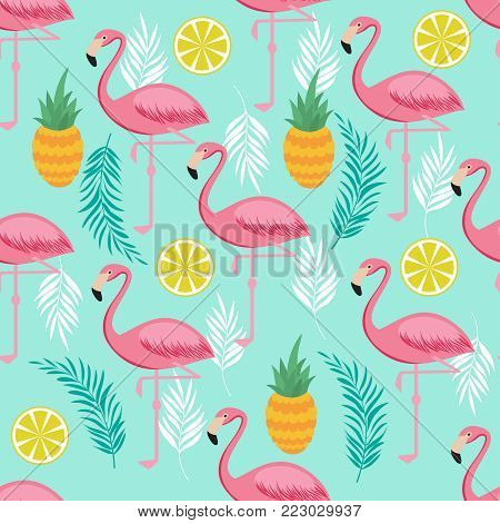 Pink flamingo, pineapples and exotic leaves vector seamless pattern. Exotic summer pattern with bird flamingo illustration