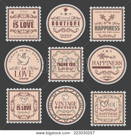 Vintage romantic colored stamps set with amorous inscriptions elegant frames pretty vignettes beautiful decor elements isolated vector illustration
