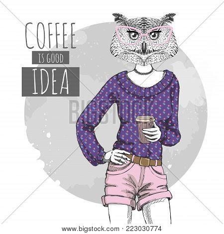 Retro Hipster fashion bird owl with coffee. Woman model