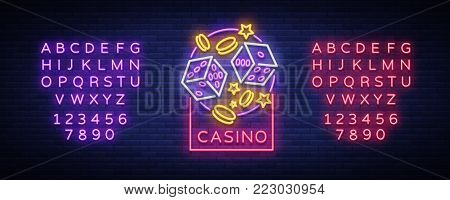 Casino is a neon sign. Neon logo, emblem gambling, bright banner, neon casino advertising for your projects. Night light billboard, design element. Vector illustration. Editing text neon sign.
