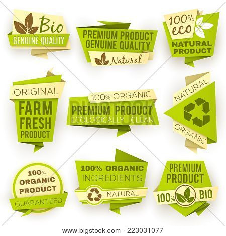 Ecology green origami paper banners. Eco natural organic product sale tags and badges vector set. Organic tag sale, banner natural eco illustration