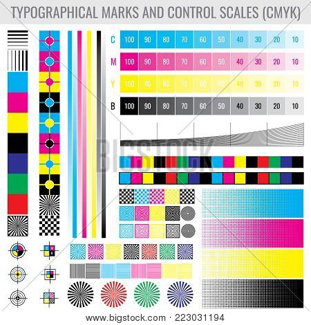 CMYK press print marks and colour tone gradient bars for printer test vector set. Mode of colored tone test illustration