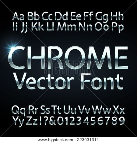 Chrome, steel or silver letters and numbers vector alphabet. Metallic typeface, font. Steel chrome alphabet and silver numers illustration