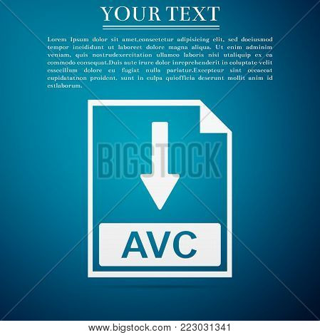 AVC file document icon. Download AVC button icon isolated on blue background. Flat design. Vector Illustration