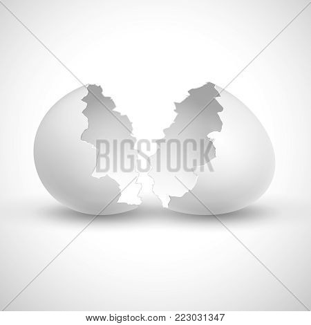 White opened easter with shell broken isolated vector illustration. Shell broken egg, eggshell fragile empty