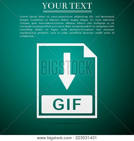 GIF file document icon. Download GIF button icon isolated on green background. Flat design. Vector Illustration