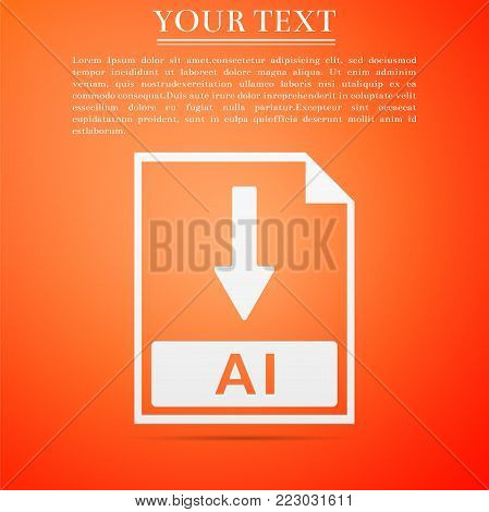 AI file document icon. Download AI button icon isolated on orange background. Flat design. Vector Illustration