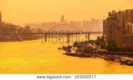 Yangtze River with morning haze at sunrise time, Chongqing, China.