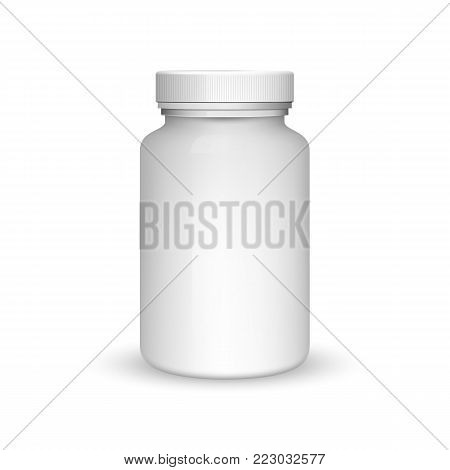 Medicine bottle on white background. Realistic vector 3d blank plastic jar with cap for pill or capsules. Mock-up package for medication: tablets, vitamin, aspirin. Medicine bottle for medicament.