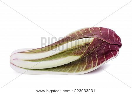 Red radicchio isolated on a white background