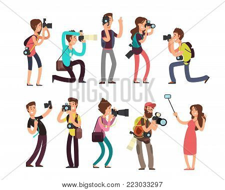 Funny professional photographer with camera taking photo in different poses vector cartoon characters set. Photographer character with camera illustration