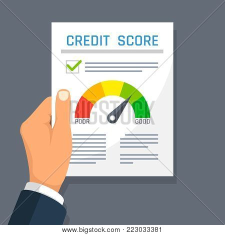 Businessman hand holding credit history finance document with score indicator. Mortgage approval vector concept. Credit history and rating illustration