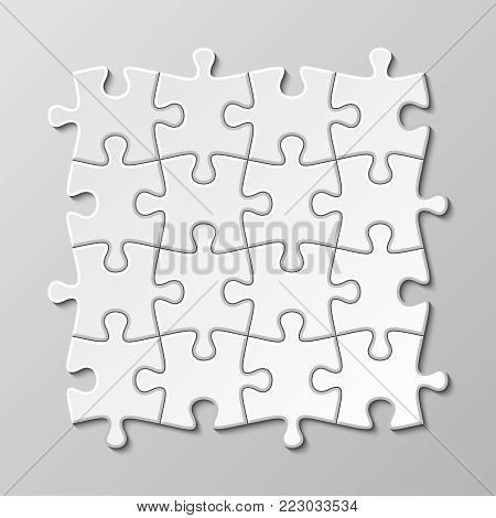 White blank puzzle piece vector set. Puzzle jigsaw game, teamwork concept illustration