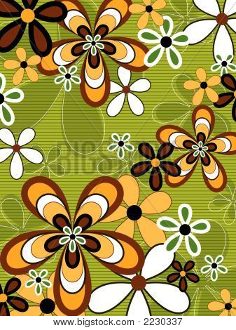 Retro Orange And Green Flower Power (Vector) - Illustrated Background Pattern