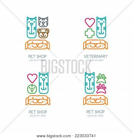 Vector pet shop, veterinary line logo, emblem or label design elements. Color outline isolated icons. Goods and accessories for animals. Template for vet, pet care, cats and dogs grooming.