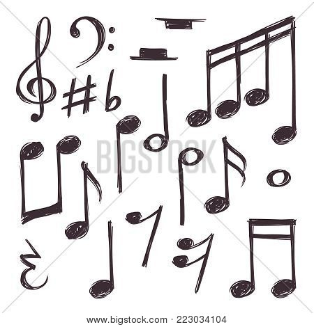 Hand drawn music note. Vector musical symbols isolated on white doodle collection. Doodle drawing music symbol sketch, musical clef and note illustration