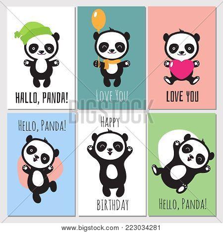 Cute panda kids vector invitation cards. Set of banner with panda animal illustration