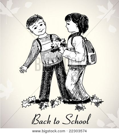 back to school illustration with hand-drawn kids