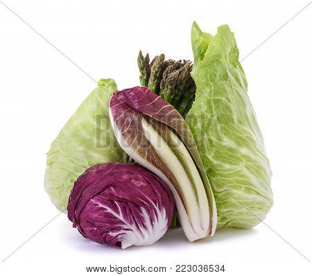Chicory asparagus radicchio end salade isolated on white