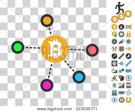 Bitcoin Net Nodes icon with bonus bitcoin mining and blockchain clip art. Vector illustration style is flat iconic symbols. Designed for crypto currency ui toolbars. poster