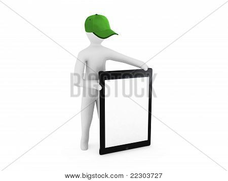 3D man holding a blank tablet pc