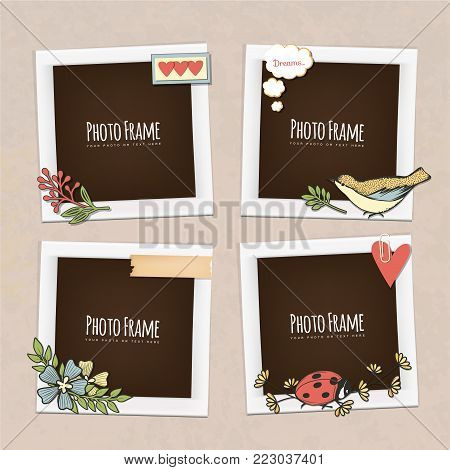Wedding vector frame. This photo template frame you can use for wedding invitation picture or memories. Scrapbook design concept. Insert your picture.