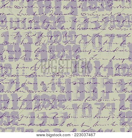 Seamless background pattern. Imitation of a abstract vintage lettering on halftone years. Unreadable text.
