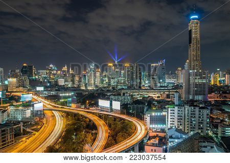 Bangkok city - Aerial view of Bangkok city downtown cityscape urban skyline at night ,landscape Thailand