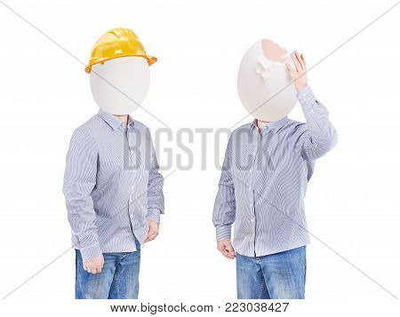 Safety concept, safety helmet hat for safety project of workman as engineer or worker poster