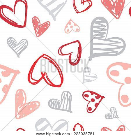 Pattern With Colorful Hearts Doodle Seamless Valentines Day Background Vector Illustration