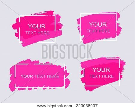 Grunge set of pink paint, ink brush strokes, brushes, lines. Dirty artistic design elemens, frames for text - stock vector.