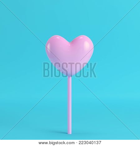 Pink heart on a stick on bright blue background in pastel colors. Minimalism concept. 3d render