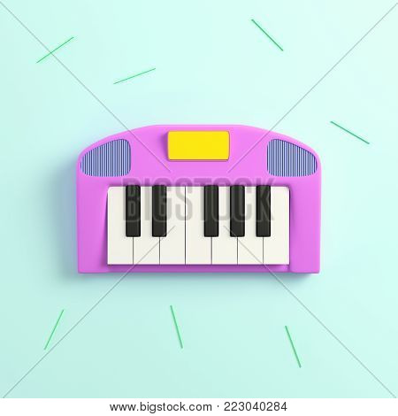Pink synthesizer on bright background in pastel colors. Top view. 3d rendering