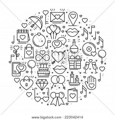 Circle with love symbols in line style. Love couple relationship dating wedding romantic amour concept theme. Unique Valentine day round print. Elements, icons