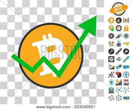 Bitcoin Growth Trend icon with bonus bitcoin mining and blockchain icons. Vector illustration style is flat iconic symbols. Designed for bitcoin apps.