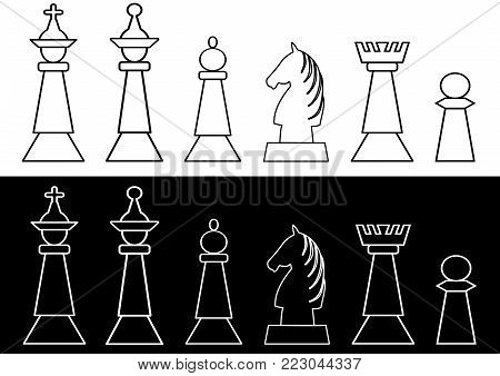Complete set of black and white chess pieces, king and queen, rook, bishop, knight, pawn, outline design. Vector EPS 10