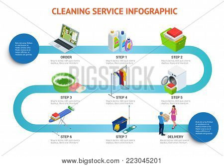 Isometric cleaning service infigraphic. Cleaning Service Sign, Tools and Chemicals. Flat Infographic Vector Illustration.
