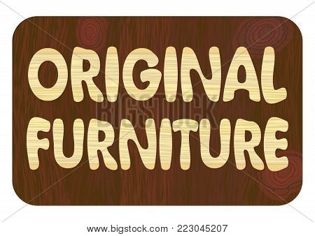 Original furniture, Wood art inlay lettering, corporate banner, wood craft industry, furniture production, wooden texture in light and dark, vector eps10