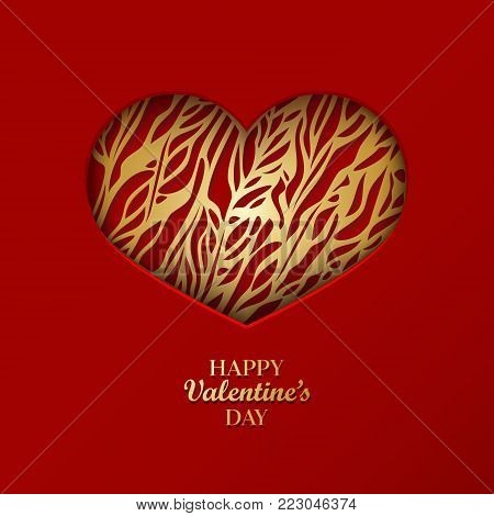 Valentine's day concept background with origami heart shaped frame. 3d paper art golden heart with ornamental pattern. Cute love sale banner or greeting card. Vector illustration. Stock clipart.