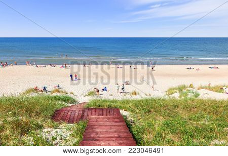 Beach on the Curonian Spit on the Baltic Sea coast. Kaliningrad region, Russia