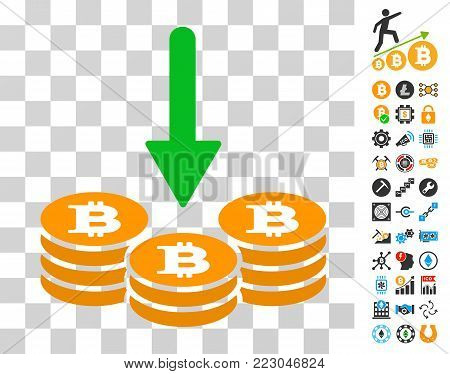 Receive Bitcoin Coins pictograph with bonus bitcoin mining and blockchain pictograms. Vector illustration style is flat iconic symbols. Designed for cryptocurrency apps.