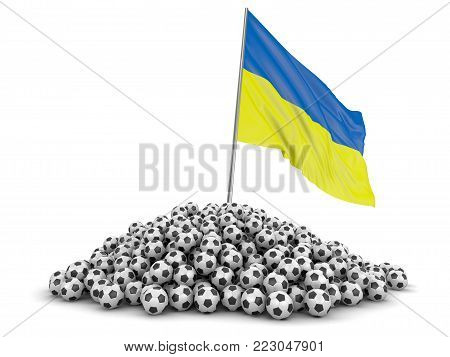 3d illustration. Soccer footballs with Ukrainian flag. Image with clipping path