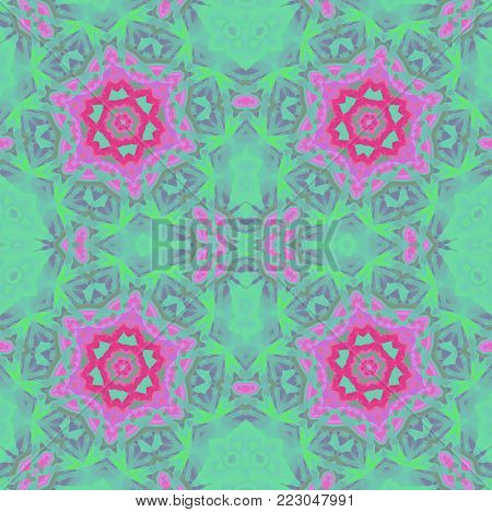 Abstract geometric seamless background. Regular floral ornaments red violet, purple and light green shades, symmetric, ornate and dreamy.