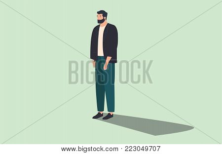 modern man standing isolated on background flat vector illustration