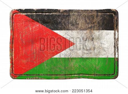 3d rendering of a Palestine flag over a rusty metallic plate. Isolated on white background.