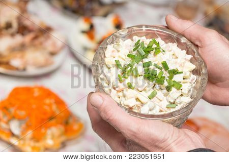 a dish of mayonnaise in my hand .