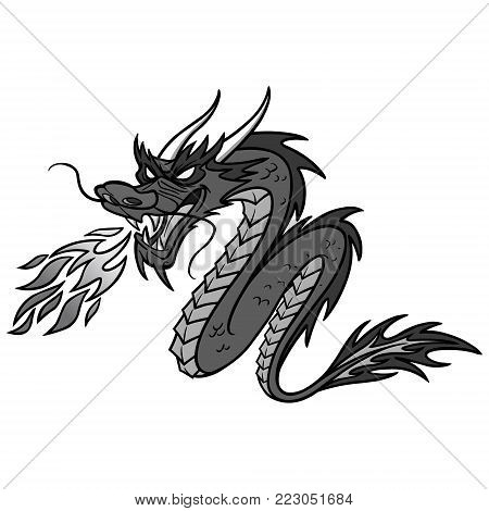 Chinese Dragon Illustration - A vector cartoon illustration of a Chinese Dragon.